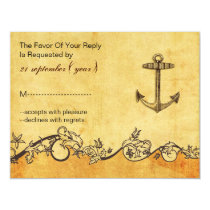 rustic, vintage ,anchor nautical wedding rsvp card