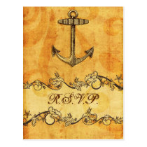 rustic, vintage ,anchor nautical wedding rsvp postcard