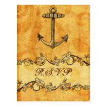 rustic, vintage ,anchor nautical wedding rsvp postcard