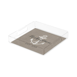 Rustic Vintage Anchor Wedding Monogram Acrylic Tray