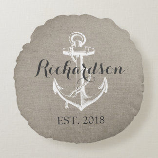 Rustic Vintage Anchor Wedding Monogram Round Pillow