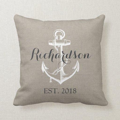 Rustic Vintage Anchor Wedding Monogram Pillow