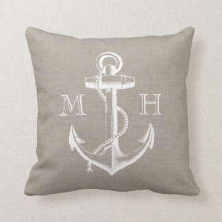 Rustic Vintage Anchor Wedding Monogram Pillows