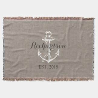 Rustic Vintage Anchor Wedding Monogram Throw