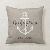 Rustic Vintage Anchor Wedding Monogram Throw Pillow