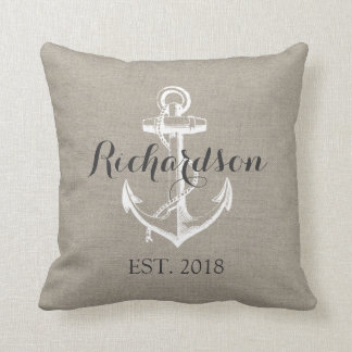 Rustic Vintage Anchor Wedding Monogram Throw Pillow