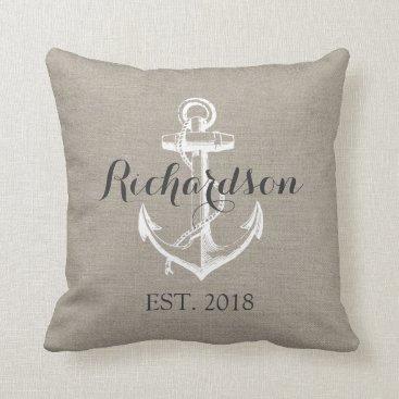 jenniferstuartdesign Rustic Vintage Anchor Wedding Monogram Throw Pillow