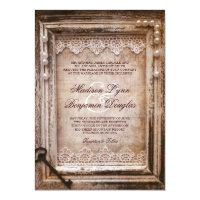 Rustic Vintage Antique Brown Frame Wedding Invites