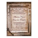 "Rustic Vintage Antique Brown Frame Wedding Invites 4.5"" X 6.25"" Invitation Card"