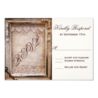 Rustic Vintage Antique Brown Frame Wedding RSVP Card