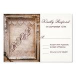 """Rustic Vintage Antique Brown Frame Wedding RSVP 3.5"""" X 5"""" Invitation Card"""