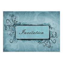 Rustic Vintage Aqua Blue Wedding Card