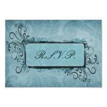 Rustic Vintage Aqua Blue Wedding Card