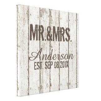 rustic vintage barn wood barn wedding mr and mrs canvas prints