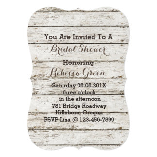 rustic  vintage barn wood country bridal shower card