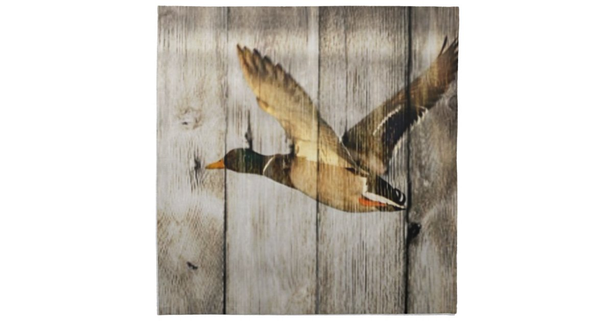 Rustic vintage barnwood country ducks hunter decor napkin for Barnwood decor