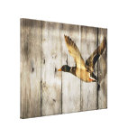 Rustic vintage barnwood country ducks woodgrain canvas print