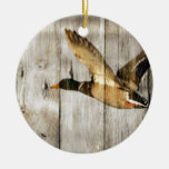 Rustic vintage barnwood woodgrain country duck Double-Sided ceramic round christmas ornament