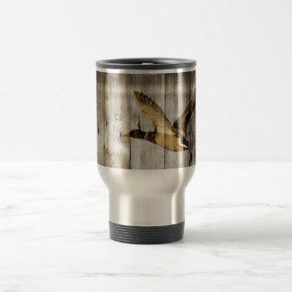 Rustic vintage barnwood woodgrain country duck coffee mugs