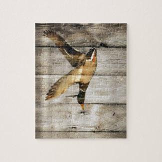 Rustic vintage barnwood woodgrain country duck jigsaw puzzle
