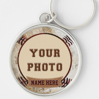Rustic Vintage Baseball Themed PHOTO Keychains