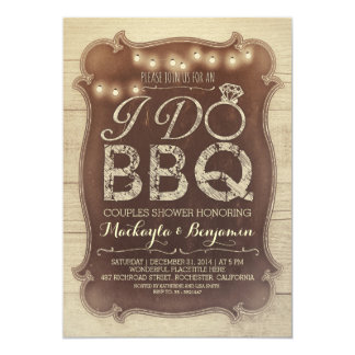 rustic vintage BBQ couples shower invitation