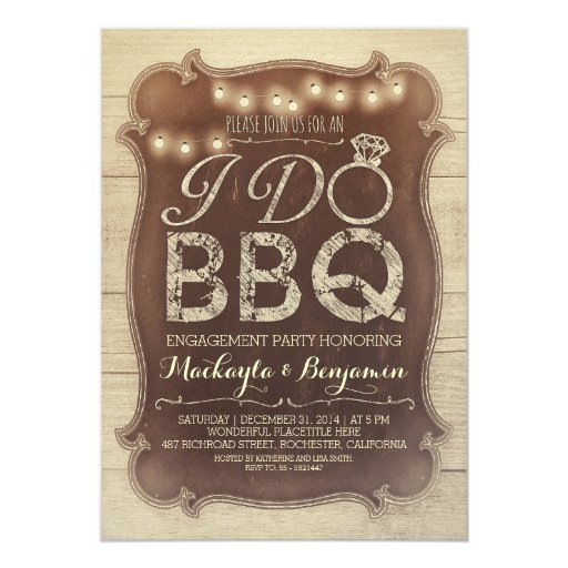 rustic vintage BBQ engagement party invitation