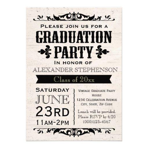 Rustic Vintage Beige Graduation Party Invitation