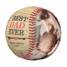 Rustic Vintage Best Dad Ever Photo Collage Baseball