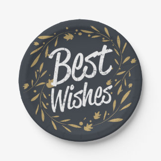 Rustic vintage Best wishes golden floral wreath Paper Plate