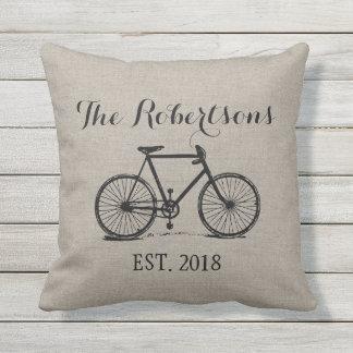 Rustic Vintage Bicycle Wedding Monogram Outdoor Pillow