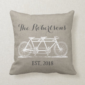 Rustic Vintage Bicycle Wedding Monogram Pillows