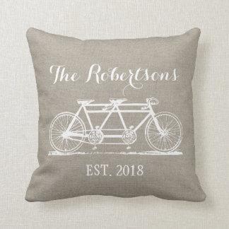 Rustic Vintage Bicycle Wedding Monogram Throw Pillow