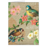 Rustic Vintage Birds and Flowers Shabby Elegance Greeting Card