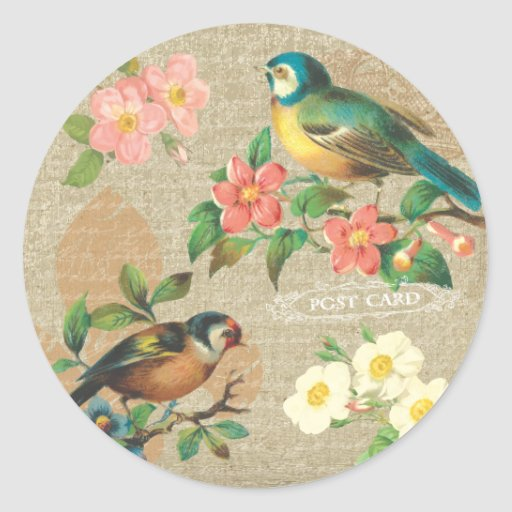 Rustic Vintage Birds and Flowers Shabby Elegance Classic Round Sticker