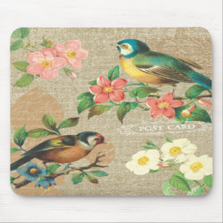 Rustic Vintage Birds and Flowers Shabby Elegance Mouse Pads