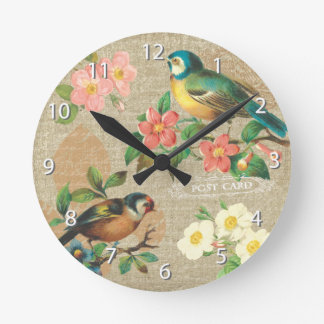 Rustic Vintage Birds and Flowers Shabby Elegance Round Clock