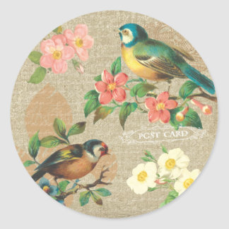 Rustic Vintage Birds and Flowers Shabby Elegance Sticker