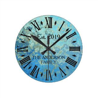 Rustic Vintage Blue Distressed Metal Round Clock
