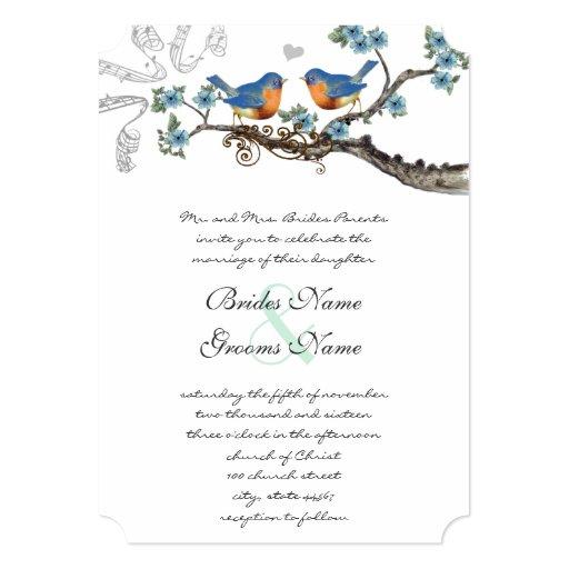Rustic Vintage Bluebirds Wedding Invitations