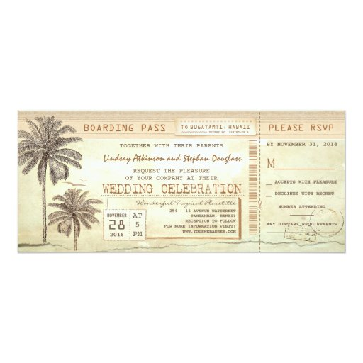 "rustic vintage boarding pass ticket wedding invite 4"" X 9.25"" Invitation Card"