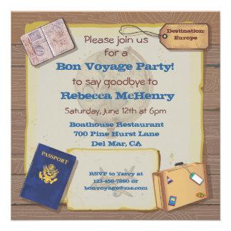 Rustic Vintage Bon Voyage Party Invitation