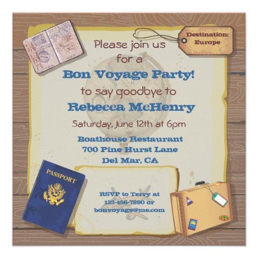 Personalized Bon Voyage Invitations CustomInvitationsUcom - Bon voyage party invitation template