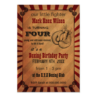 Rustic Vintage Boxing Birthday Invitations