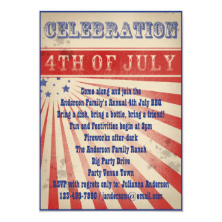 Rustic Vintage Broadside Poster Style 4th of July 5x7 Paper Invitation Card