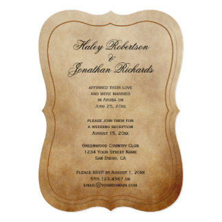 Rustic Vintage Brown Tan Ivory Reception Only Card