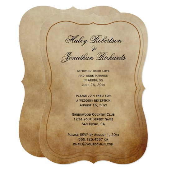 Rustic Vintage Brown Tan Ivory Reception Only Invitation