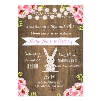 Rustic Vintage Bunny Rabbit BirthdayInvitation Card
