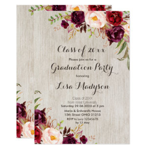 save 60 on marsala floral 5x7 graduation invitations limited time