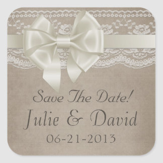 Rustic Vintage Burlap & Lace Wedding Save The Date Square Sticker